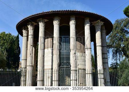 Tempio Di Ercole Vincitore Or Temple Of Hercules Victor. Ancient Roman Greek Classical Style Temple.