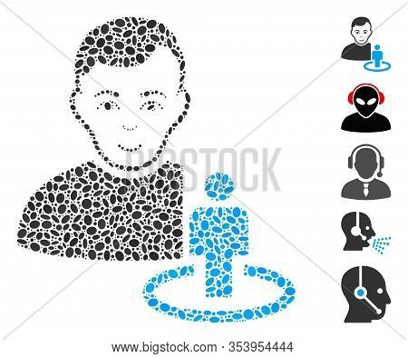 Dot Mosaic Based On Portal Moderator. Mosaic Vector Portal Moderator Is Designed With Scattered Elli