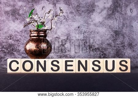 Consensus Word Made With Building Blocks On A Gray Background