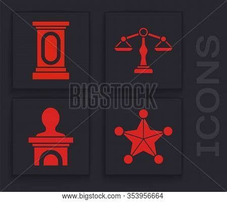 Set Hexagram Sheriff, Stage Stand Or Debate Podium Rostrum, Scales Of Justice And Stage Stand Or Deb