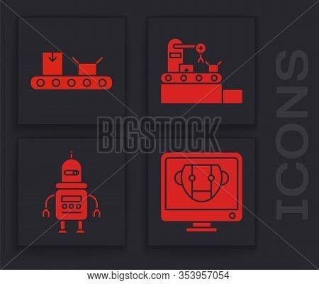 Set Bot, Conveyor Belt With Cardboard Box, Factory Conveyor System Belt And Robot Icon. Vector