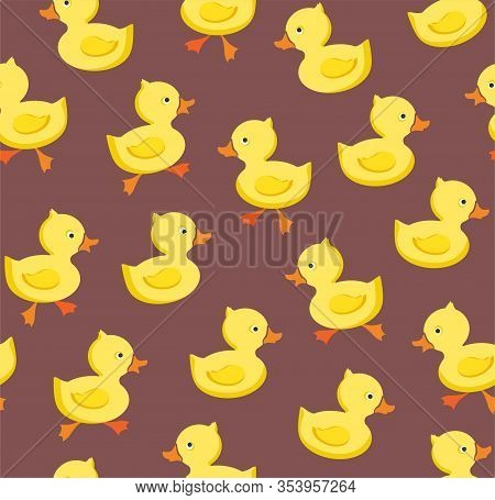 Ducklings, Seamless Pattern, Color, Gray - Lilac, Vector. Yellow Cheerful Ducklings. Color, Flat Pic