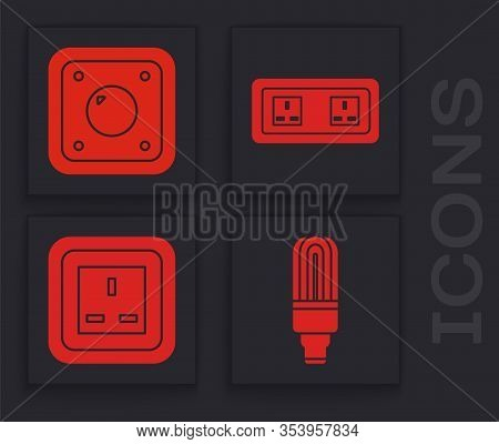 Set Led Light Bulb, Electric Light Switch, Electrical Outlet And Electrical Outlet Icon. Vector