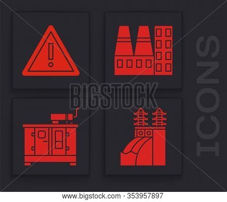 Set Nuclear Power Plant, Exclamation Mark In Triangle, Power Station Plant And Factory And Diesel Po