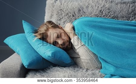 Ill Bristled Dressed Male Covering With Blanket Napping On Couch To Recover From Cold, Close-up Shot