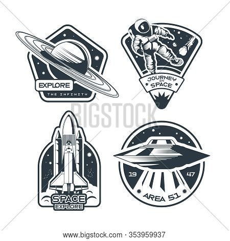 Space Emblem Monochrome Set Of Ufo Rocket   Astronaut In Spacesuit Walking Surface Isolated Vector I