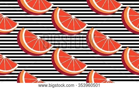 Seamless Background With Black Stripes And Slices Red Grapefruit With Shadow. Vector Fruit Design Fo