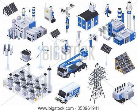 Electricity Isometric Icons Set With Solar Panels Power Stations High Voltage Wires Isolated On Whit