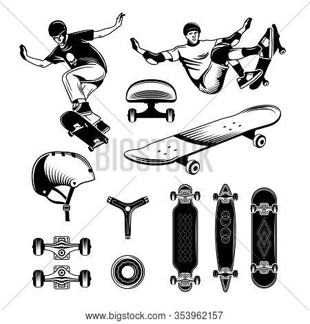 Skateboarding Hand Drawn Engraving Set With People Engaged In Extreme Sports And Different Skateboar