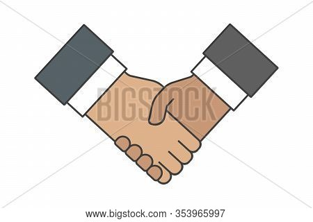 Business Handshake Symbol. Handshaking Icon. Vector Illustration.