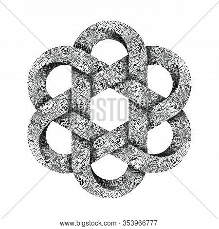 Hexagonal Chinese Knot Made Of Crossed Stippled Tapes. Ancient Traditional Symbol. Vector Illustrati