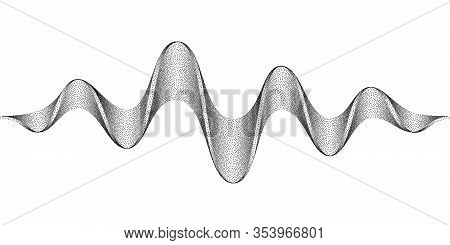 Abstract Sound Waves Stylized With Stippled Tape. Dynamic Equalizer Visual Effect. Vector Illustrati