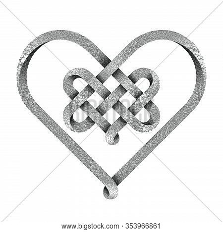 Heart Symbol Made Of Intertwined Stippled Mobius Strips As A Celtic Knot.. Vector Illustration Isola
