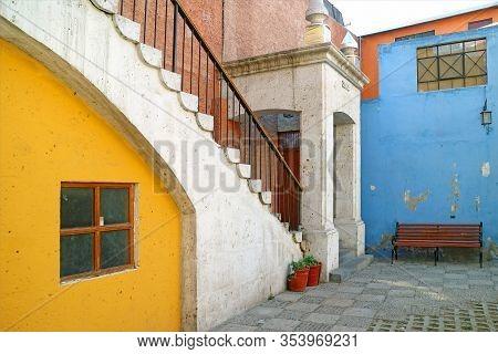 The Colorful Old Building In Tambo El Matadero Neighborhood, Arequipa, Peru
