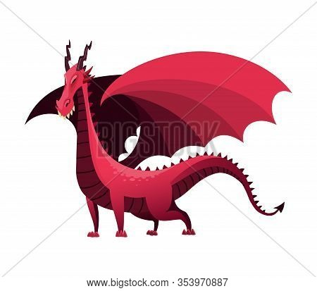 Dragon Cartoon Vector. Cute Dino Character, Baby Dinosaur For Kids. Funny Colorful Fire Breathing Dr