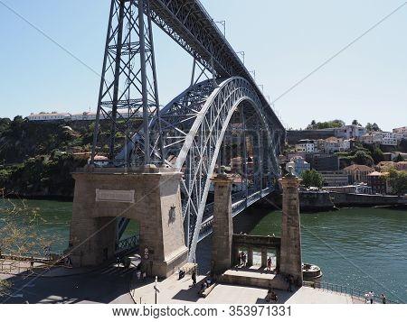 Porto, Portugal On September 2019: Scenic Double-deck Metal Bridge Over Douro River In Ribeira Area