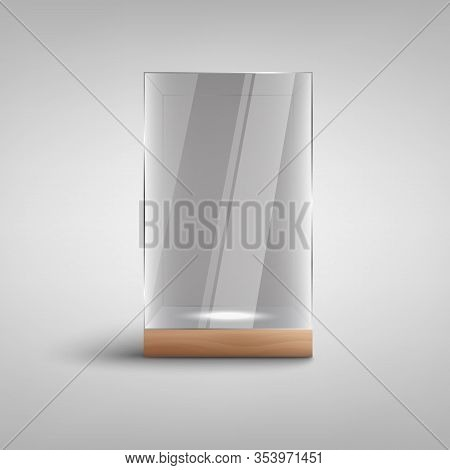Realistic Empty Glass Showcase Imockup With Blank Lit Space Inside