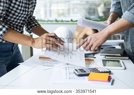 Construction Concept Of Engineer Or Architect Meeting For Project Working With Partner And Engineeri