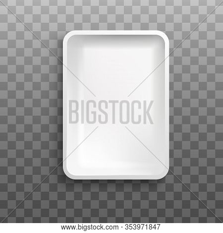 White Rectangle Foam Tray From Top View Isolated On Transparent Background