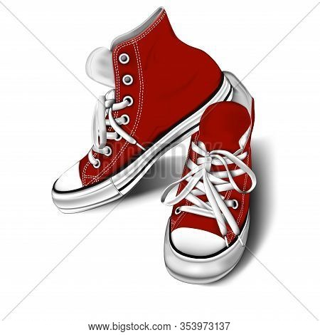 Red Sneakers On A White Background. Youth Shoes. Stylish, Rag Sneakers. White Background. Stock Vect