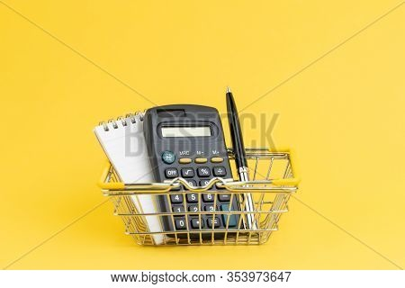 Shopping List, Cost And Expense To Buy Things At Minimart Or Supermarket Concept, Calculator With No