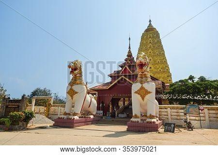 Kanchanaburi, Thailand - January 16, 2020 : Beautiful Scene Of Bodh Gaya Pagoda Travel Attraction In