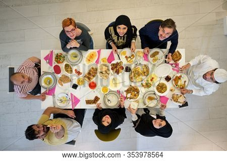 Muslim family gathering for having Iftar in Ramadan together