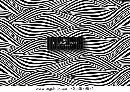Abstract Black And White Wavy Pattern Design Of Texture Background. Use For Copy Space Of Text, Cove