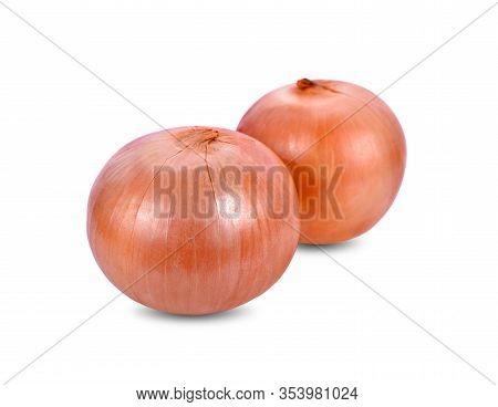 Whole Unpeeled Fresh Onion On White Background