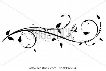 Floral Elements Design, Luxury Ornamental Graphic Element Border, Swirls Flowers,foliage Swirl Decor