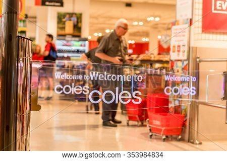 Sydney, Australia 2020-02-26 Welcome To Coles. Transparent Anti-theft Entrance Gates At Westfield Mi