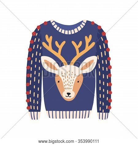 Cartoon Ugly Christmas Sweater With Deer Head Image Isolated On White Background. Knitted Winter War