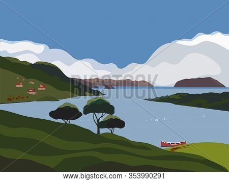 Mountain Green Valley Landscape. Summer Season Lake Scenic View Poster. Houses On River Bank In Alps