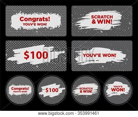 Vector Set Of Scratch & Win Card/ Lottery Ticket/ Scratch Torn Marks Effect. Suitable For Scratch Ca