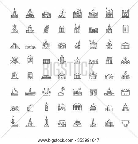 Building Icons Set, Government. Illustration Set, Government