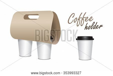 Coffee Cup Carton Holder Mock Up. Vector Paper Pack Holder Mockup. Cardboard Coffee Cup Holder Takea