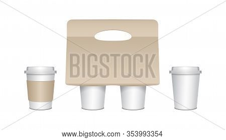 Coffee Cup Carton Holder Set With Paper Cups And Plastic Caps. Vector Paper Pack Holder Mockup. Card