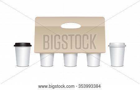 Coffee Cup Carton Holder With Paper Cups And Plastic Caps. Vector Paper Pack Holder Mockup. Cardboar