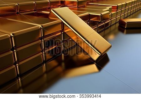 3d Illustration, Gold Bullion In A Bank Vault. 3d Rendering Of Gold Bars Stacked On Top Of Each Othe