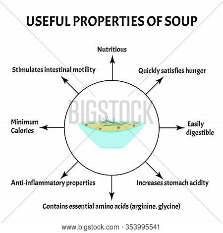 International Soup Day April 5th. Useful Properties Of Soup. Infographics. Vector Illustration On Is