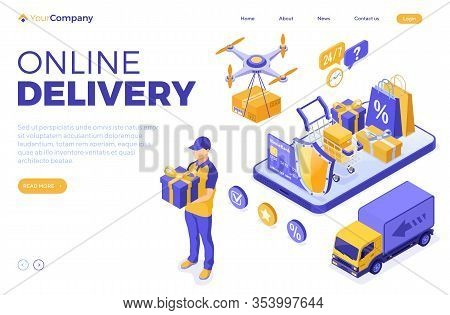 Isometric Online Shopping Delivery Logistics Concept. Smartphone With Delivery Goods Drone Truck Car