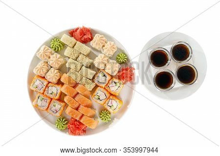 Set Of Sushi For A Large Company, Rolls, California, Philadelphia With Lava Sauce, Marinated Ginger,