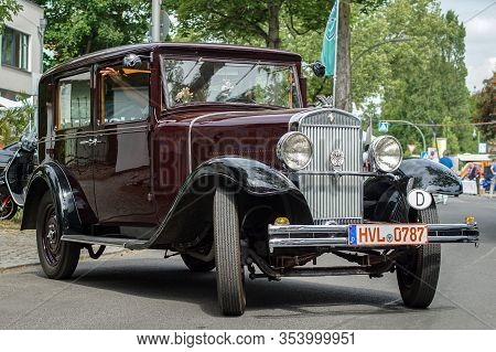 Welfenallee, Berlin, Germany - june 16, 2018: a red and black Wanderer at the annual Oldtimer car meeting in Frohnau