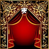 illustration background with theatrical curtain and gold(en) pattern poster