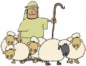 This illustration depicts a shepherd with his herd of sheep. poster