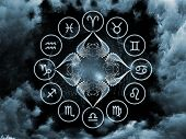 Background design of scarab symbols shapes and abstract design elements on the subject of astrology destiny fate horoscope future and the occult poster