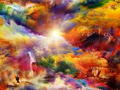 Interplay of dreamy forms and colors on the subject of dream imagination fantasy and abstract art poster