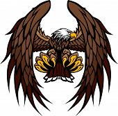 Flying Eagle with Wings and Talons Graphic Mascot Vector Image poster