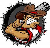 Baseball Cartoon Cowboy with Bat Vector Illustration poster