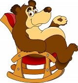 funny bear sitting in a rocking chair (vector illustration); poster